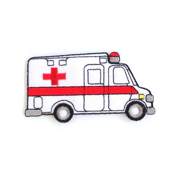 Ambulance Applique Iron on Patch Size 9.5 x 5 cm