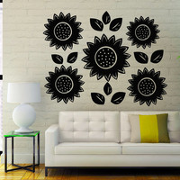 Sun Flower Wall Decals Flowers Flowering Blossom Stickers Living Room Decor Vinyl Decal Sticker Art Spa Wall Decor Nursery Room Decor MR328