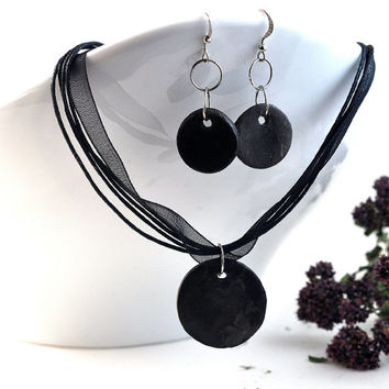 Jewelry Set Handmade Ceramic Black Necklace and Earrings Round Disc Monochrome Jewellery