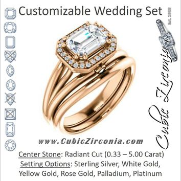 CZ Wedding Set, featuring The Wanda Lea engagement ring (Customizable Radiant Cut Halo-style with Ultrawide Tri-split Band & Peekaboo Accents)