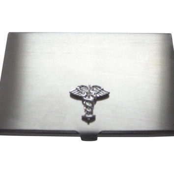 Silver Toned Caduceus Medical Symbol Business Card Holder