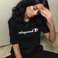 Champion Hot Sale Embroidery (5-color) Tee shirt top Black