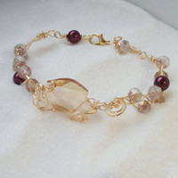 Handmade Golden Leaf Bracelet - Swarovski and Czech Glass Wirework Vines Bracelet