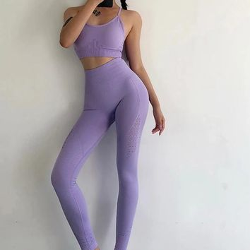 Isela- Seamless Strappy Work Out Top Yoga Legging Set