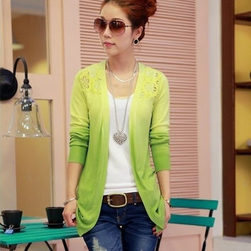 Women Fashion  Slim Knit cardigan gradient crochet lace  sweater = 1920440004