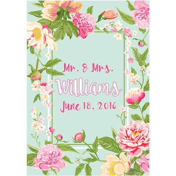 Light Blue & Pink Flower and Name - Wedding Wine Labels