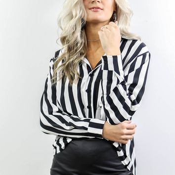 Time And Place Black & White Striped Button Up Long Sleeve Shirt