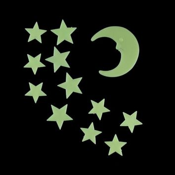 1set lot(12pcs set) Stars Moon Glow In The Dark Luminous Fluorescent Home Wall Stickers Decal 3.5 4.5 8.2cm 048016033