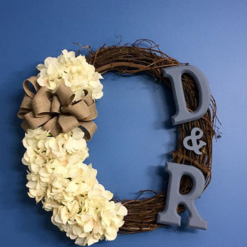 Year Round Wreath, Everyday Wreath, Ivory Hydrangea Grapevine Wreath, Front Door Decoration