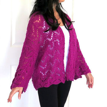 Knit angora cardigan, soft fushsia sweater shrug, size large, gift for her