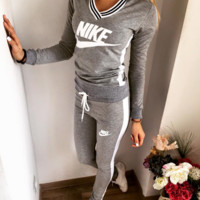 Fashion Sexy V Neck Alphabet Print Stylish Sports Sportswear Set