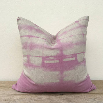 "18"" x 18"" Organic 100% Linen Dip Dye Ombre Shibori Pillow Case Faded Pink Shabby pillow chic, Same fabric on reverse, Boho chic beach living"
