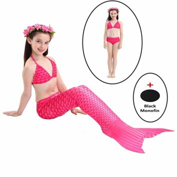 2018 NEW! Girls Kids Mermaid Tail with Black Monofin Swimming Swimmable Children Mermaid Tail Halloween Cosplay Costume Swimsuit