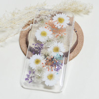 Real flower iPhone 6S Rubber case,White Pressed Daisy iPhone 6S plus case,Dried flower iPhone 6/6S case,Floral iPhone4/4s/5/5s/5c case