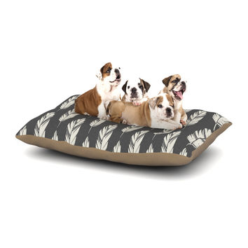 "Amanda Lane ""Feathers Black Cream"" Dark Pattern Dog Bed"