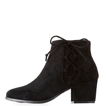 Bamboo Lace-Up Detail Ankle Booties | Charlotte Russe