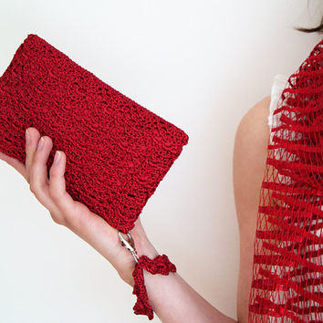 Scarlet Red Rectangular Crochet Clutch Bag