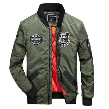 Mens Army Green Street Style Bomber Jacket