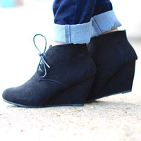 The Sally Wedge Bootie {Black}