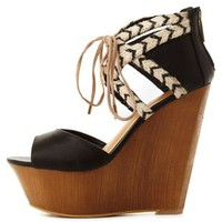 Dollhouse Lace-Up Raffia-Trim Wedges by Charlotte Russe - Black
