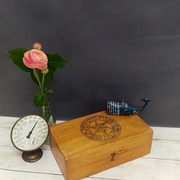 Dovetail Box/ Antique Wood Box/ Wood Box/ Antique Tyrrells Hygienic Inst NY Box 1903/ New York City/ Jewelry Box/ Wood Storage Box/ Dovetail