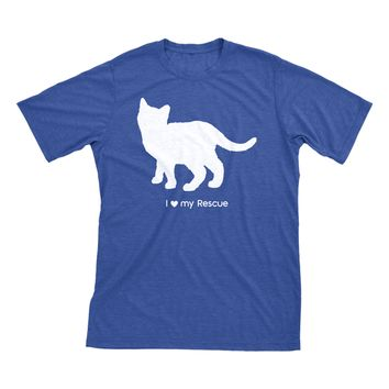 I Love My Rescue | Must Love Cats® White On Heathered Royal Blue Short Sleeve T-Shirt