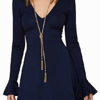 Navy Blue Long Bell Sleeve V-Neck Mini Dress