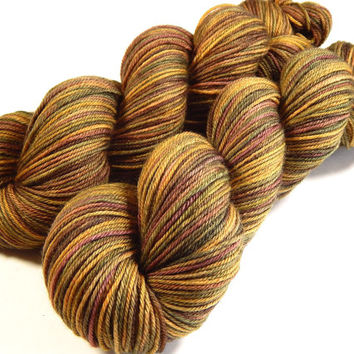 Hand Dyed Yarn - Sport Weight Superwash Merino Wool Yarn - Antique Brass - Knitting Yarn, Sock Yarn, Wool Yarn, Earthtones, Gold, Brown