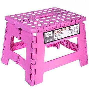 9 Inches Pink Folding Step Stool with Anti-Slip Surface for Kids and Adults with Handle, Holds up to 250 LBS (Pink)