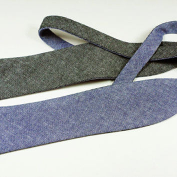 Men's Bow Tie slim reversible self-tie adjustable - Blue Chambray / Charcoal Chambray on other side.