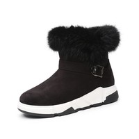Wedge Ankle Boots Wedges Flock Keep Warm Fur Snow Boots Sneakers