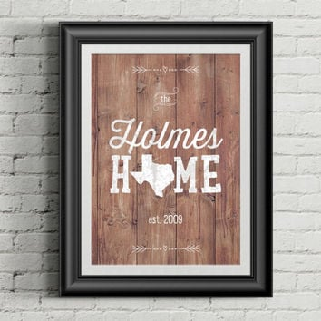 Wood Background/Chalk Style Family Name with Home State AND Established Date- Custom Print Home Decor
