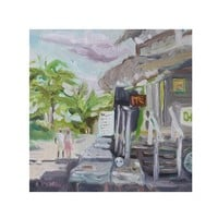 Oil Painting, Original Oil Painting, Mexico, Palm Trees, Painting, Street Scene, Market Scene, Original Painting, Square Painting, Art