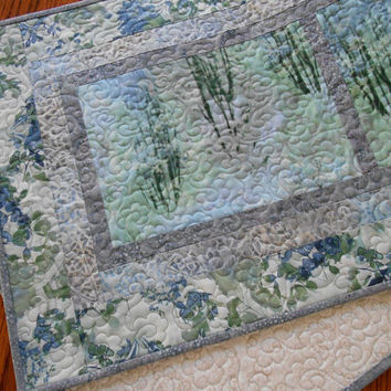 Quilted Table Runner with Trees and Flowers in Soft Blues and Greens, McKenna Ryan Enchanted Pines, Quilted Tablerunner