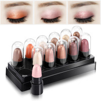 Hot Sale 12 Colors/Set Metal Nude Eyeshadow Palette Diamond Glitter Eye Shadow Stick Shimmer Eye Makeup Set Beauty Cosmetic Gift