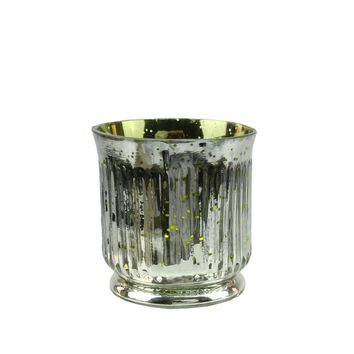 """Set of 4 Lime Green and Silver Ribbed Mercury Glass Decorative Votive Candle Holders 3.25"""""""