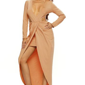 Chicloth Light Coffee Cut Out Drape Slit Long Sleeve Maxi Dress