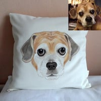Custom Pet Portrait Pillow Cover , cat portrait - dog portrait , gift for pet lovers