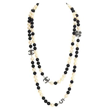 Chanel Pearl & Beaded Long Black Crystal CC/Clover/ No 5 Charm Necklace