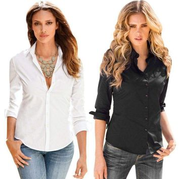 Ladies Womens Long Sleeve OL Lapel Shirts Tops  Button Down Slim Fit Blouse Tops