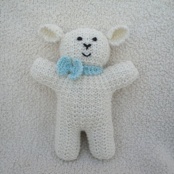 """Hand Knit Lamb Little Easter Lamb Sheep Waldorf Animal Toy 9"""" Lambie Lamby Doll Spring Lamb with Bow Baby Toddler Child Boy Girl"""