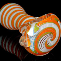 """Bright & Colorful Heavy Spiral Striped Glass Spoon Reversal 3.5"""" Pipe Round Curved Bowl Orange White Green Wig Wag Triple Marble Grip"""