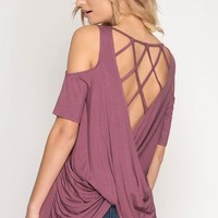 Criss Cross Back Top - Mauve