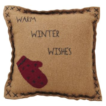 """Warm Winter Wishes 10"""" Pillow"""