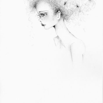 FineArt OOAK Pencil Drawing Illustration Hand Drawn Illustration Beautiful Women Face Evocative Illustration Minimalist Drawing Illustration
