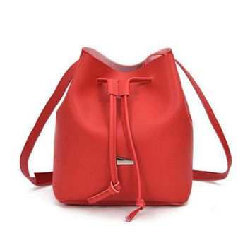 Red Drawstring Bucket Bag