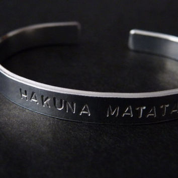 ON SALE Hakuna Matata Cuff Bracelet Adjustable Hand Stamped