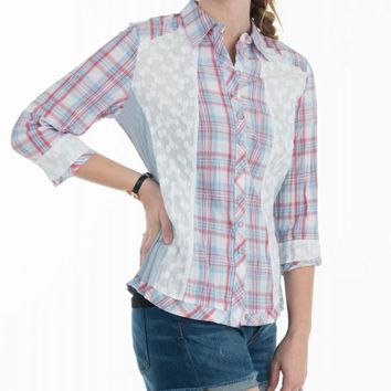 Tiuta Style Sexy  Floral Plaid Long Sleeve Button Down Blouse Shirt Top Size S
