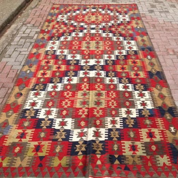 Large Red and Brown Turkish Kilim Rug, Antique pastel Kilim Rugs, Flatwoven Kilim Carpet, Area Rug, kelim rug, 13x6 rugs, floor  living room