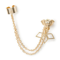 Gold Ear Cuff and Chains with Elephant Front and Back Earring